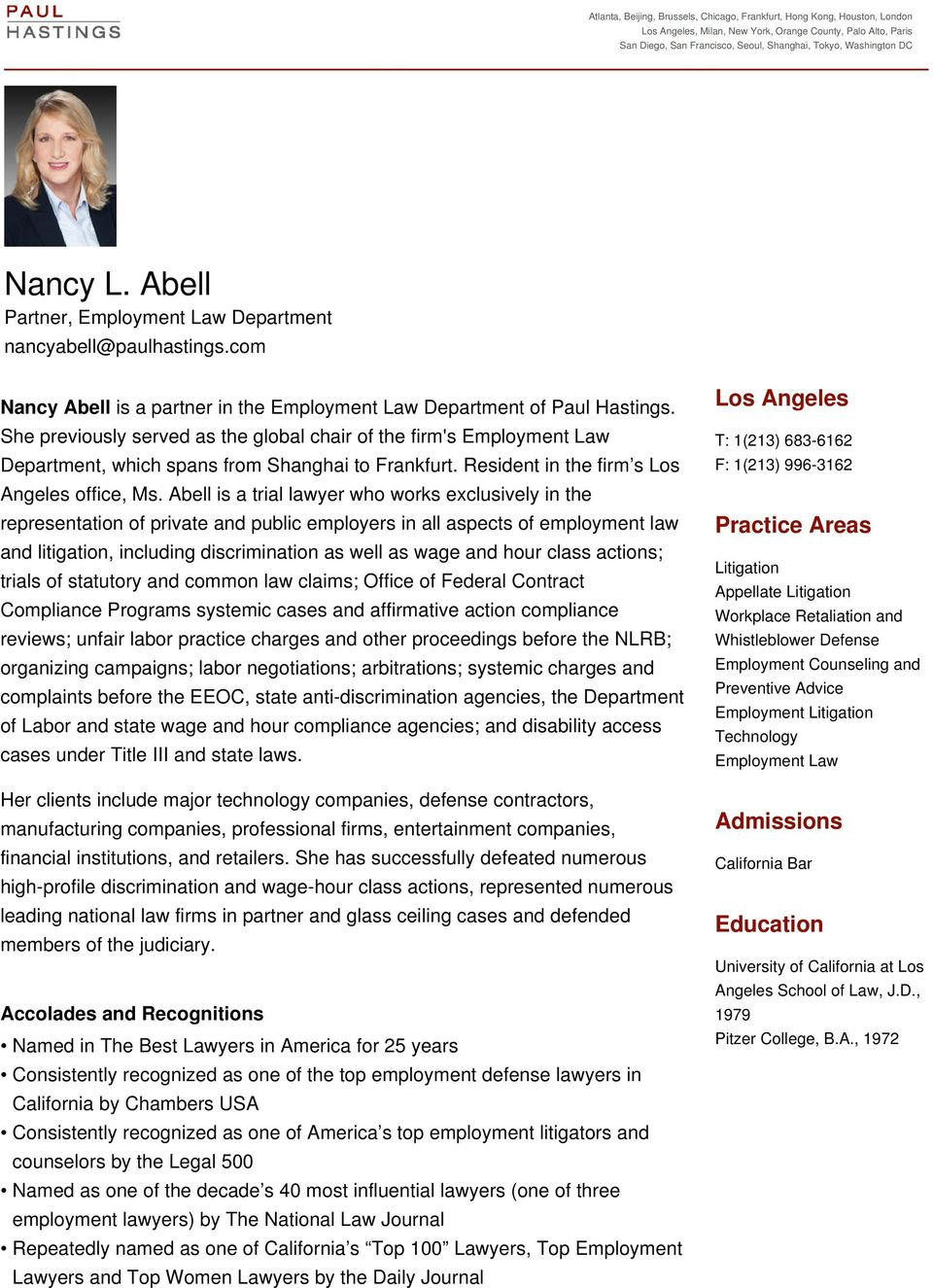 Abell is a trial lawyer who works exclusively in the representation of private and public employers in all aspects of employment law and litigation, including discrimination as well as wage and hour