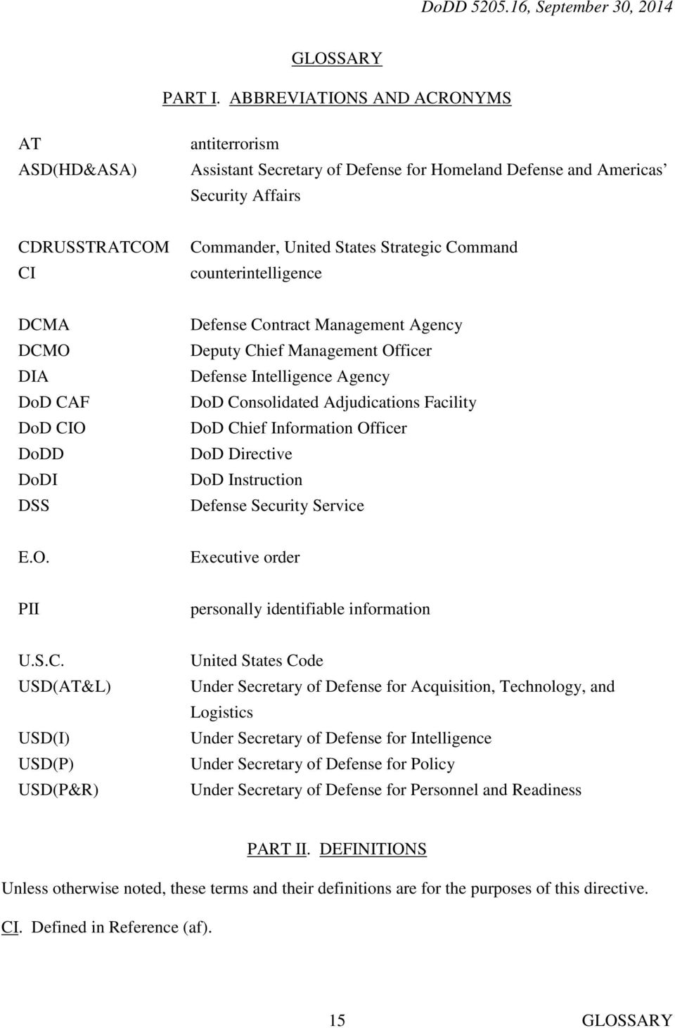 counterintelligence DCMA DCMO DIA DoD CAF DoD CIO DoDD DoDI DSS Defense Contract Management Agency Deputy Chief Management Officer Defense Intelligence Agency DoD Consolidated Adjudications Facility