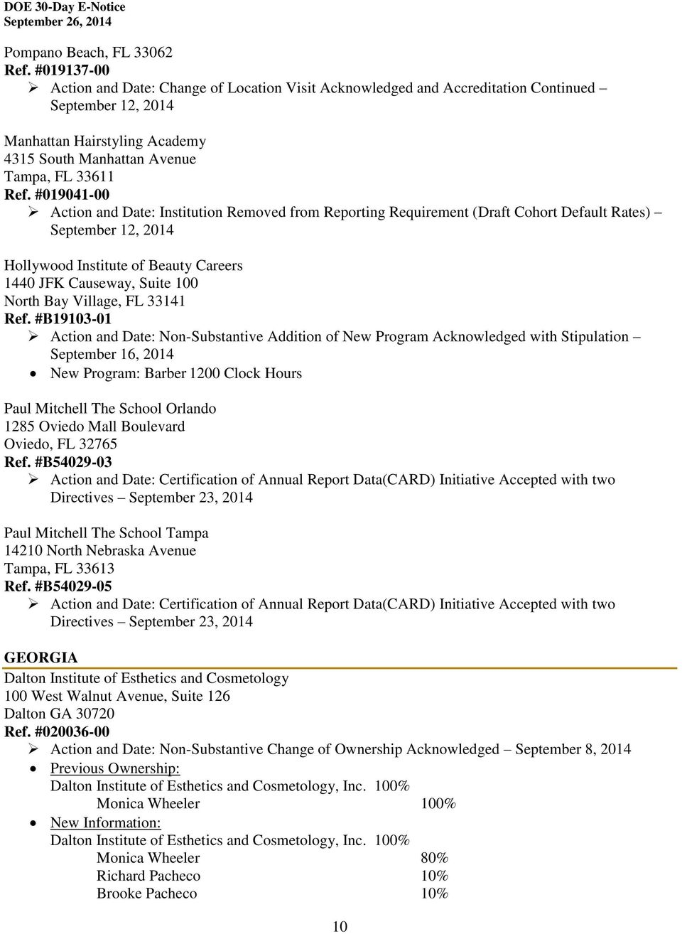 #019041-00 Action and Date: Institution Removed from Reporting Requirement (Draft Cohort
