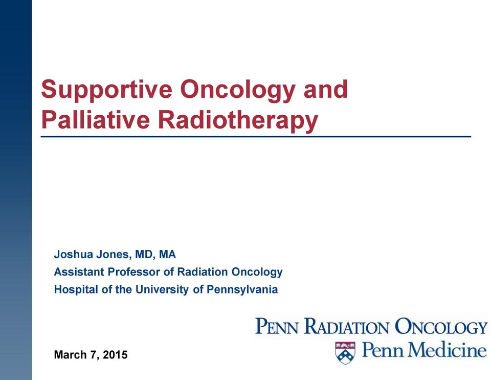 Assistant Professor of Radiation Oncology