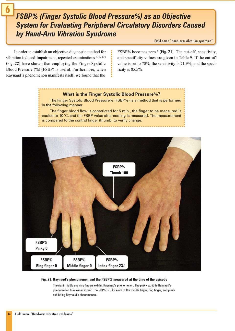 22) have shown that employing the Finger Systolic Blood Pressure (%) (FSBP) is useful. Furthermore, when Raynaud s phenomenon manifests itself, we found that the FSBP% becomes zero 5 (Fig. 21).