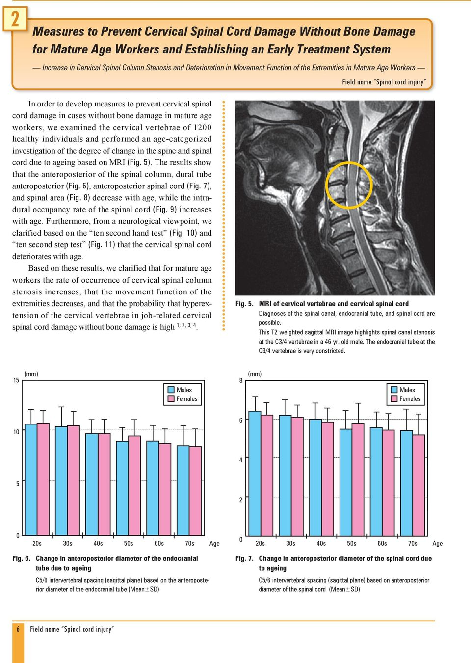 workers, we examined the cervical vertebrae of 1200 healthy individuals and performed an age-categorized investigation of the degree of change in the spine and spinal cord due to ageing based on MRI