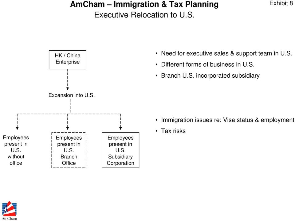 S. incorporated subsidiary Expansion into U.S. Immigration issues re: Visa status & employment Employees present in U.