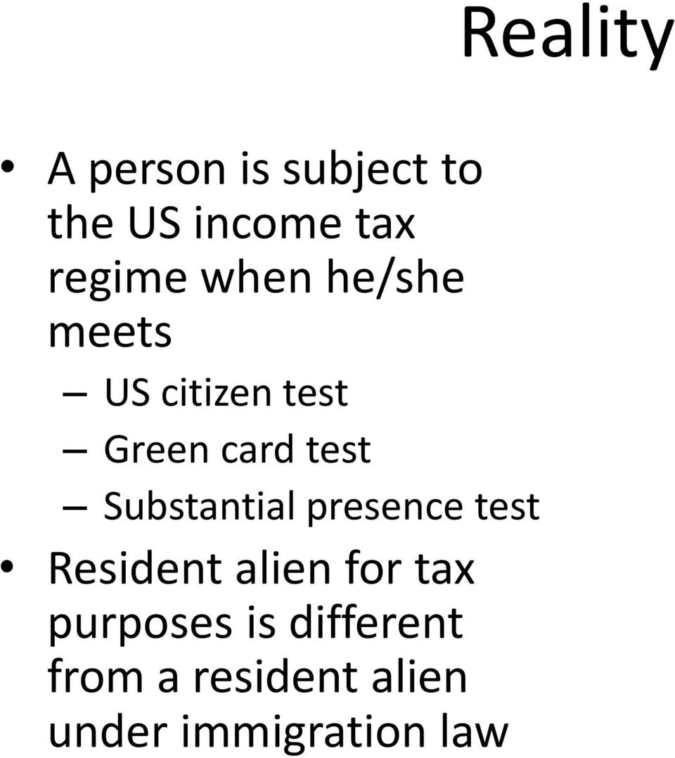 Substantial presence test Resident alien for tax