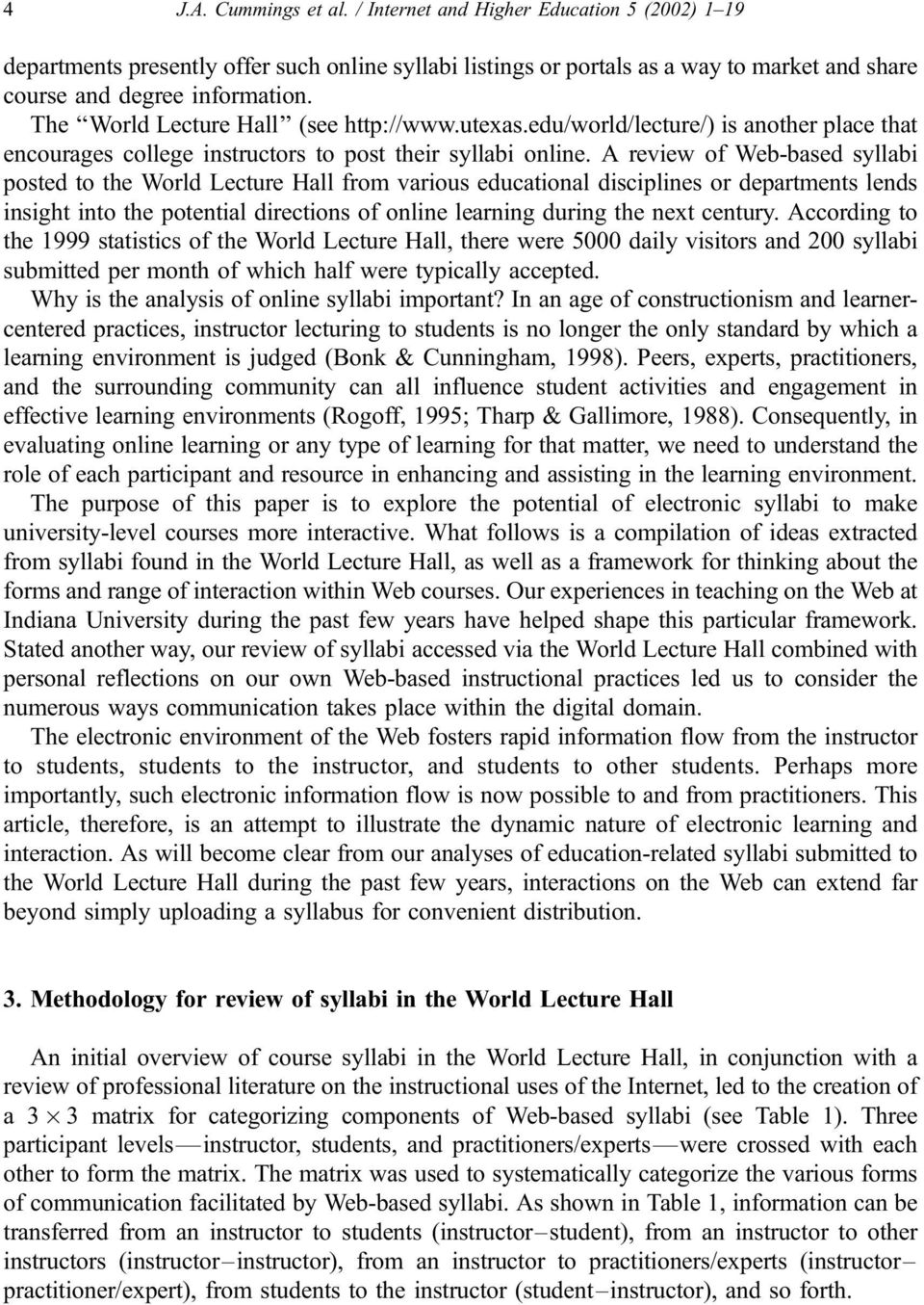 A review of Web-based syllabi posted to the World Lecture Hall from various educational disciplines or departments lends insight into the potential directions of online learning during the next