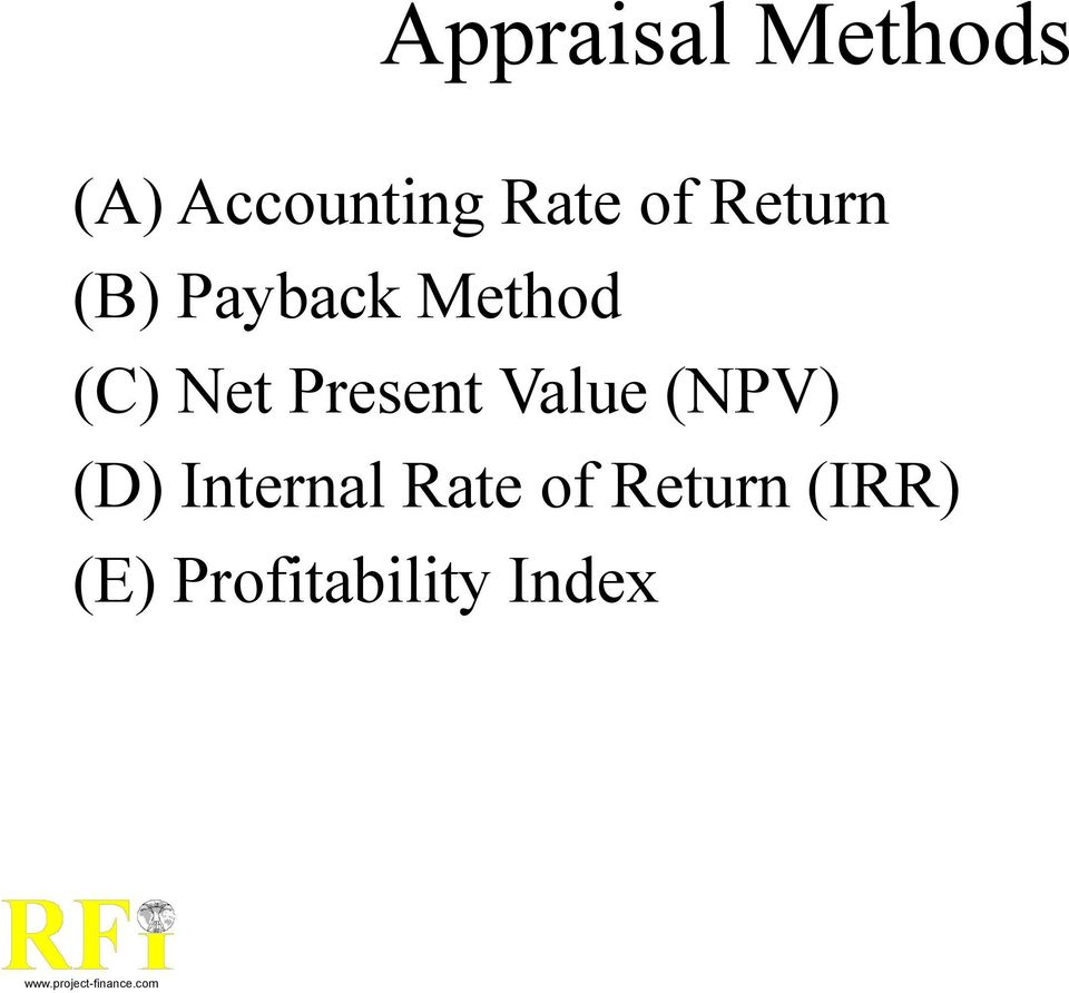 Present Value (NPV) (D) Internal Rate