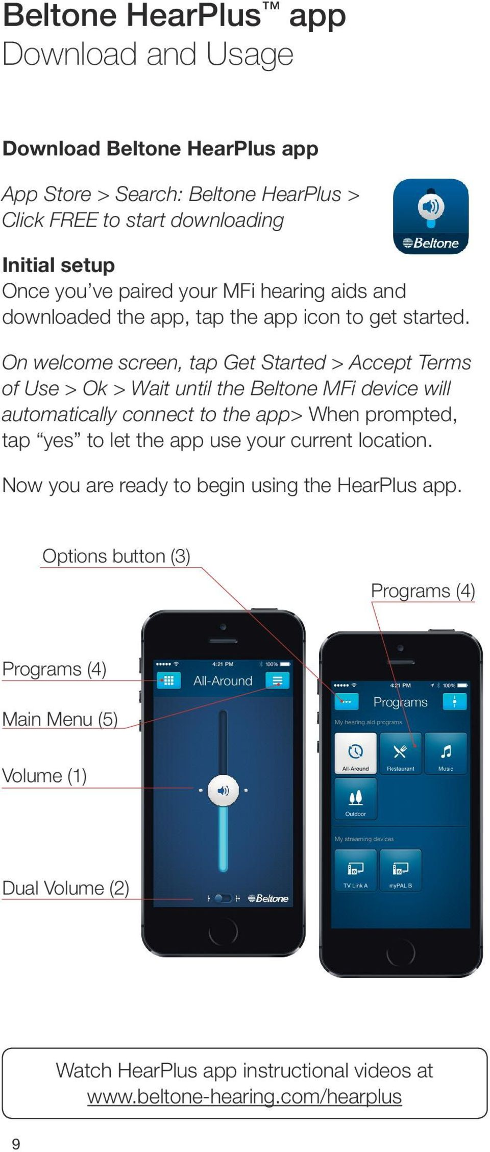 On welcome screen, tap Get Started > Accept Terms of Use > Ok > Wait until the Beltone MFi device will automatically connect to the app> When prompted, tap yes to let
