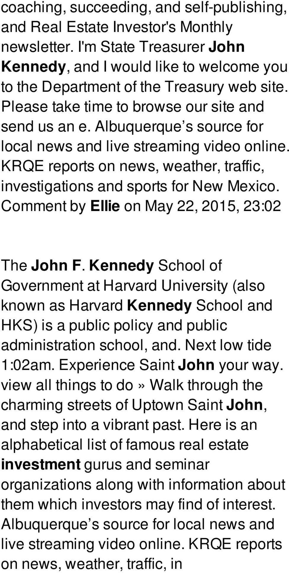 KRQE reports on news, weather, traffic, investigations and sports for New Mexico. Comment by Ellie on May 22, 2015, 23:02 The John F.