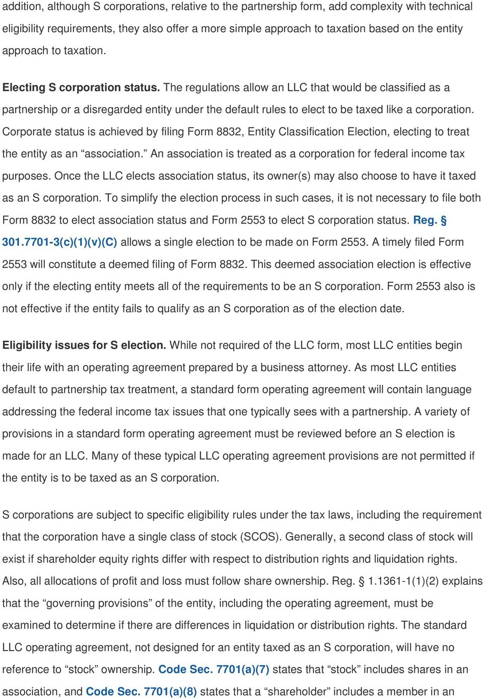 Avoiding traps when electing S corporation status for an LLC - PDF