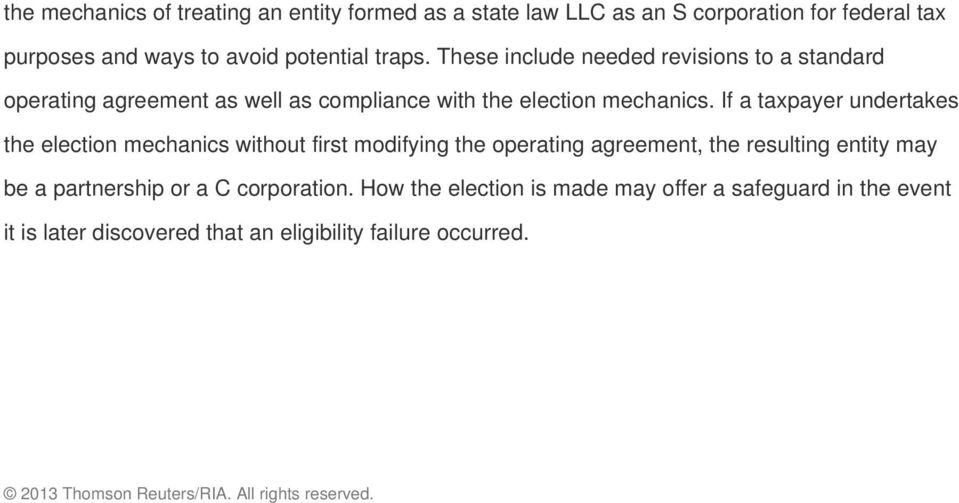 Avoiding Traps When Electing S Corporation Status For An Llc Pdf