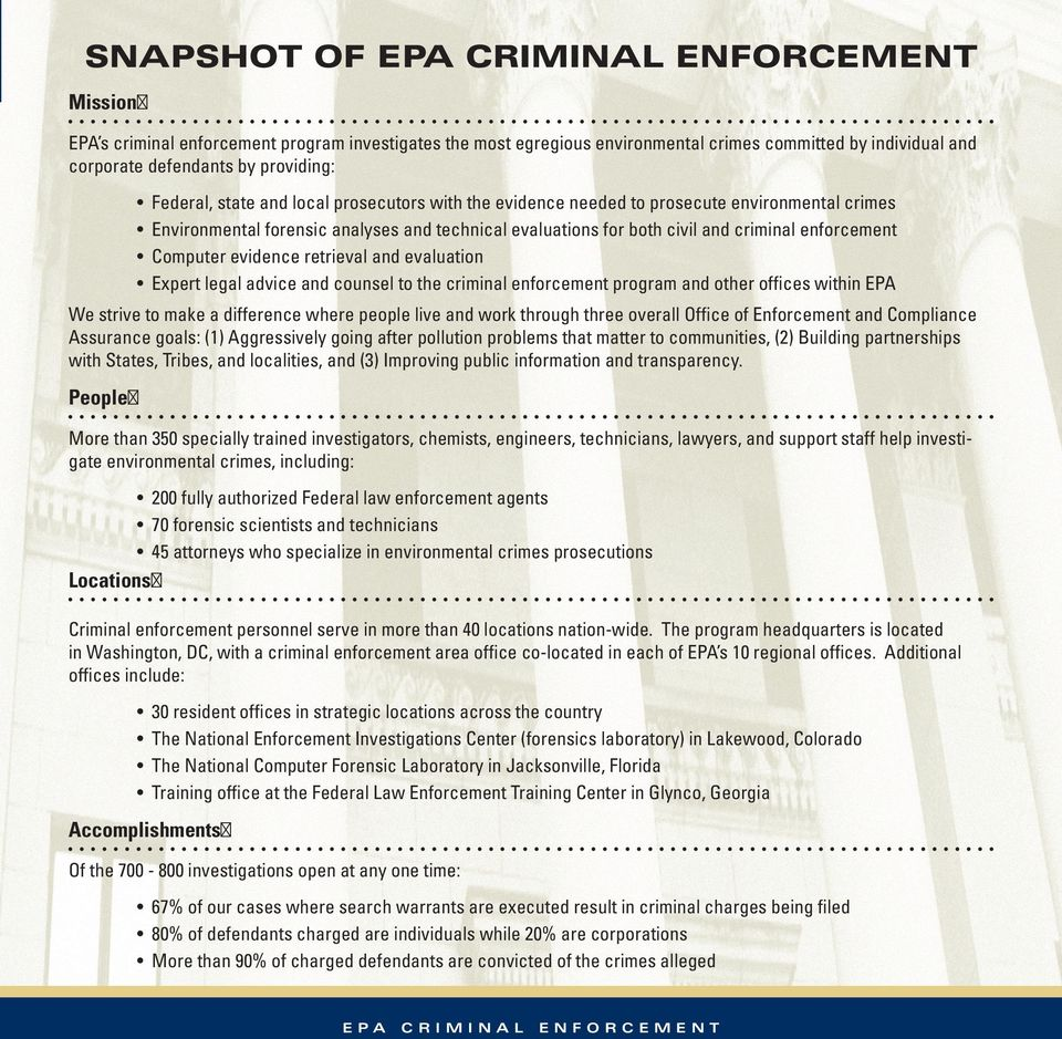 and evaluation Expert legal advice and counsel to the criminal enforcement program and other offices within EPA We strive to make a difference where people live and work through three overall Office