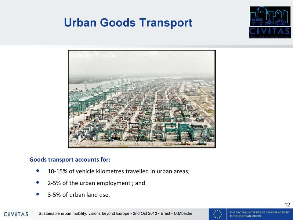 kilometres travelled in urban areas; 2-5%