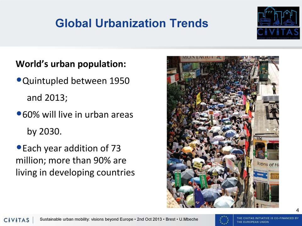 urban areas by 2030.