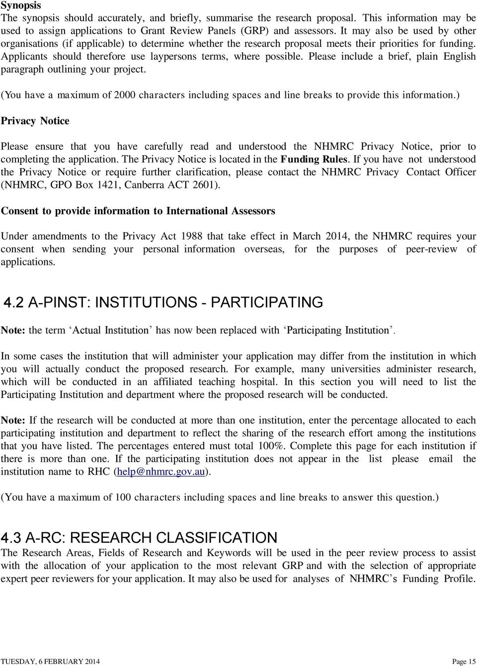 nhmrc research proposal template