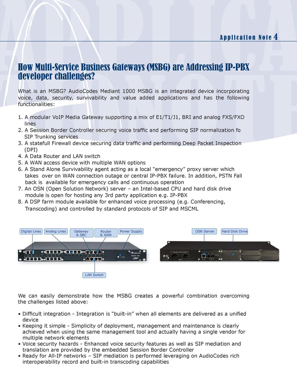 A modular VoIP Media Gateway supporting a mix of E1/T1/J1, BRI and analog FXS/FXO lines 2.