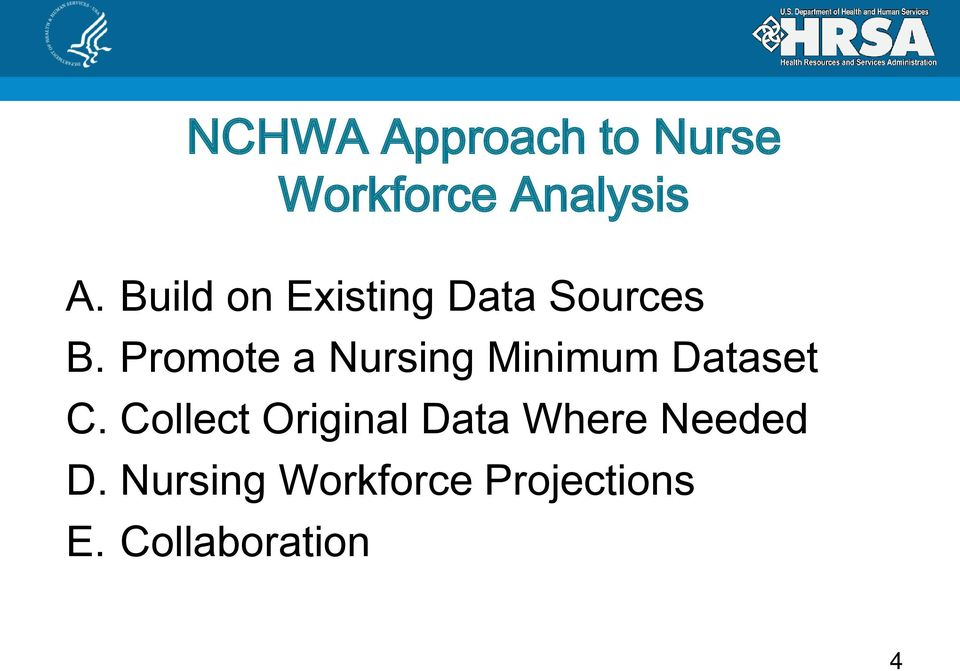 Promote a Nursing Minimum Dataset C.