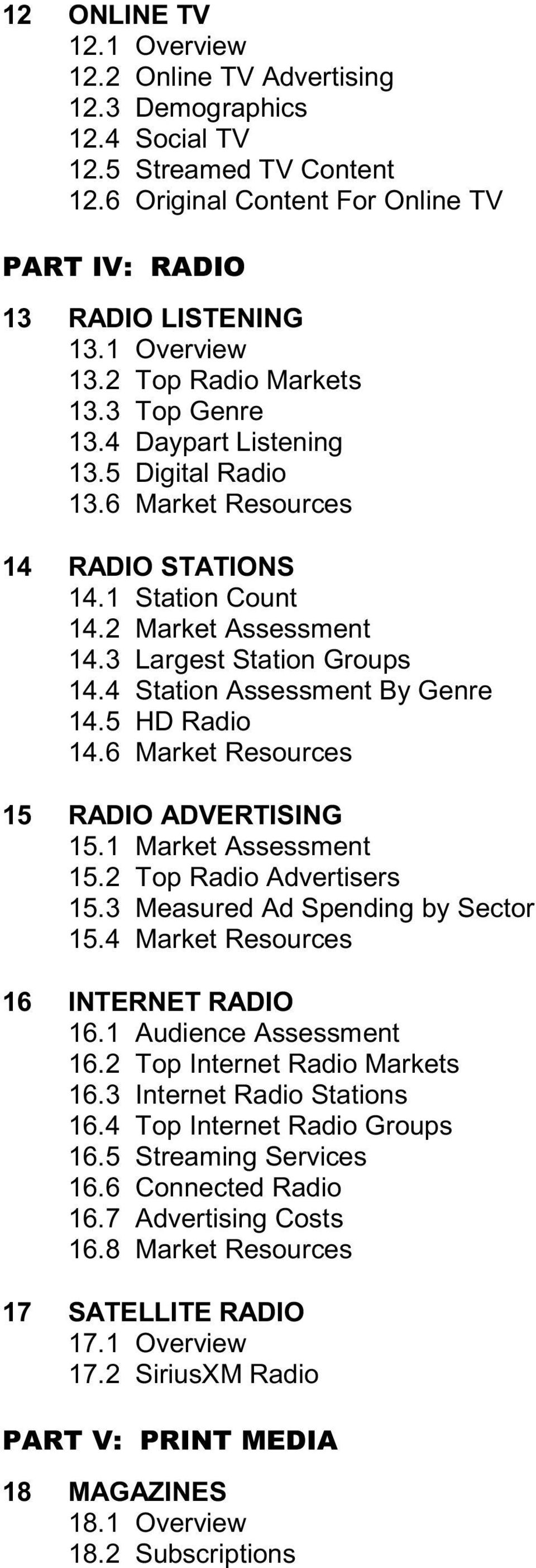 4 Station Assessment By Genre 14.5 HD Radio 14.6 Market Resources 15 RADIO ADVERTISING 15.1 Market Assessment 15.2 Top Radio Advertisers 15.3 Measured Ad Spending by Sector 15.