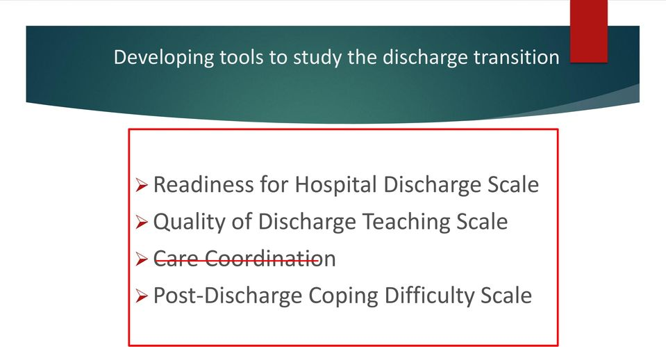 Scale Quality of Discharge Teaching Scale