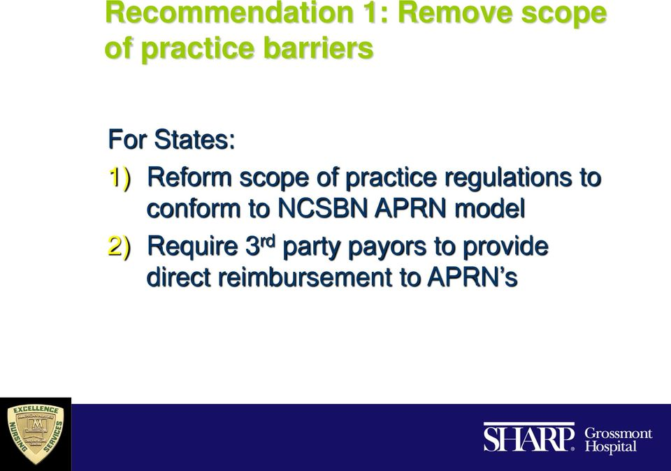 to conform to NCSBN APRN model 2) Require 3 rd