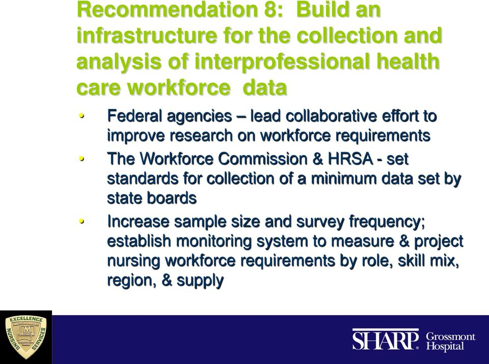 Commission & HRSA - set standards for collection of a minimum data set by state boards Increase sample size and