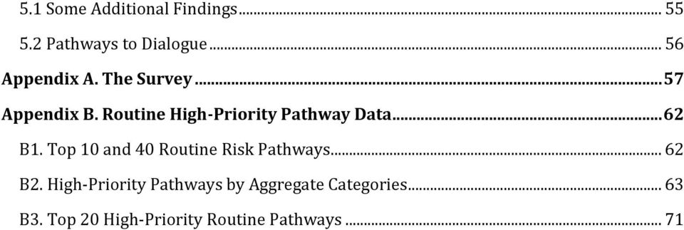 Top 10 and 40 Routine Risk Pathways... 62 B2.