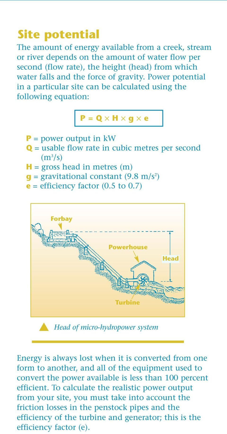 Power potential in a particular site can be calculated using the following equation: P = Q H g e P = power output in kw Q = usable flow rate in cubic metres per second (m 3 /s) H = gross head in
