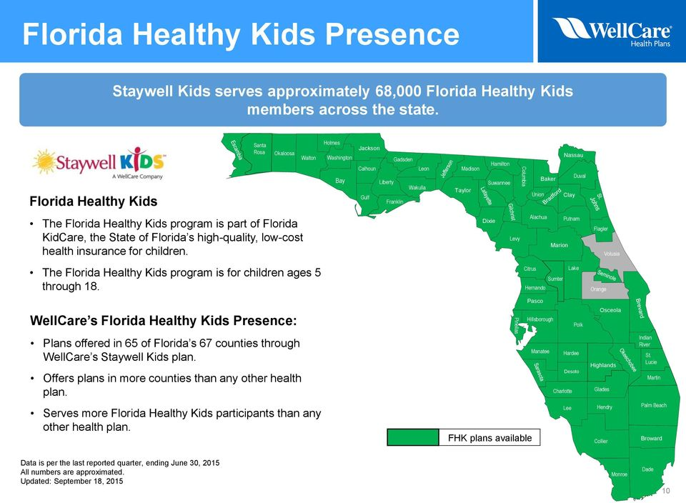 Clay The Florida Healthy Kids program is part of Florida KidCare, the State of Florida s high-quality, low-cost health insurance for children.