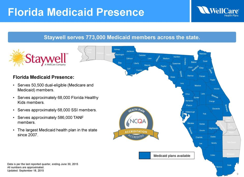 Presence: Dixie Alachua Putnam Flagler Serves 50,500 dual-eligible (Medicare and Medicaid) members. Serves approximately 68,000 Florida Healthy Kids members. Serves approximately 68,000 SSI members.