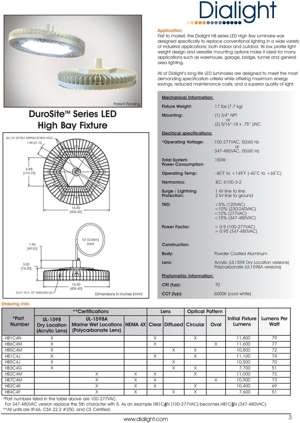 All of Dialight s long life LED luminaires are designed to meet the most demanding specification criteria hile offering maximum energy savings, reduced maintenance costs, and a superior quality of