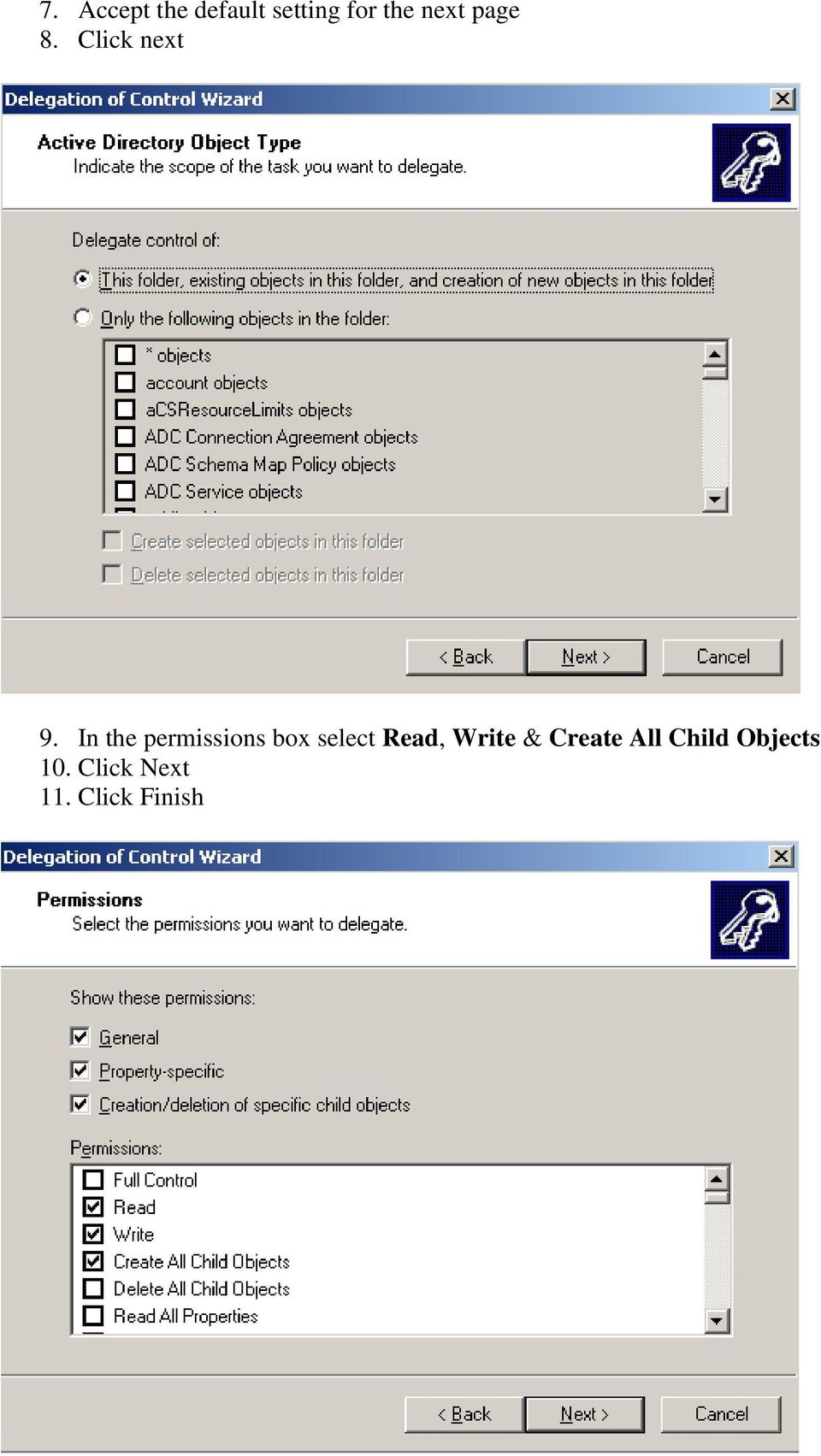 In the permissions box select Read, Write