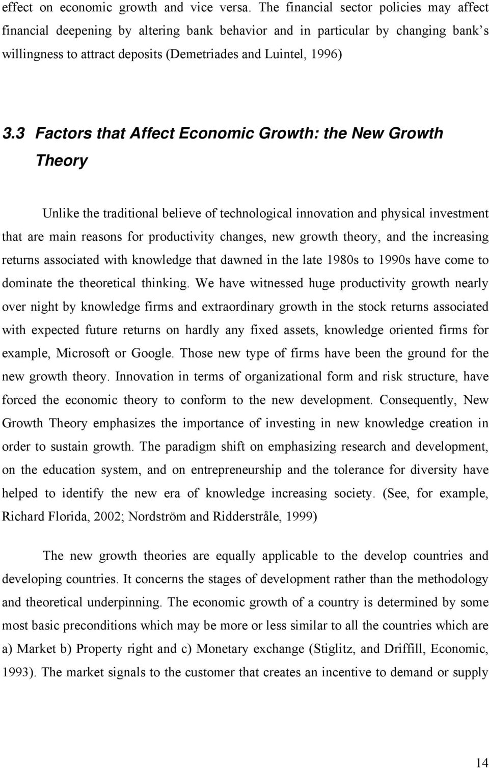 3 Factors that Affect Economic Growth: the New Growth Theory Unlike the traditional believe of technological innovation and physical investment that are main reasons for productivity changes, new
