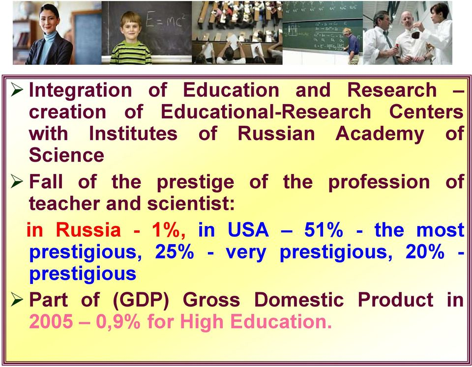 teacher and scientist: in Russia - 1%, in USA 51% - the most prestigious, 25% - very