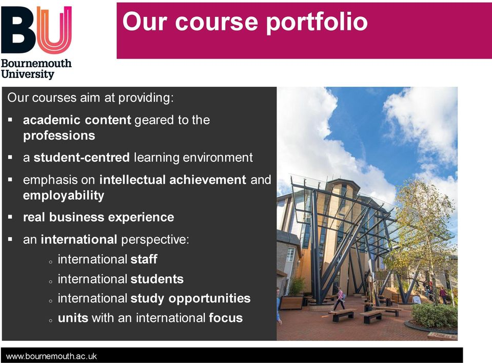 and employability real business experience an international perspective: o o o o