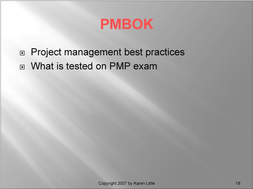 tested on PMP exam