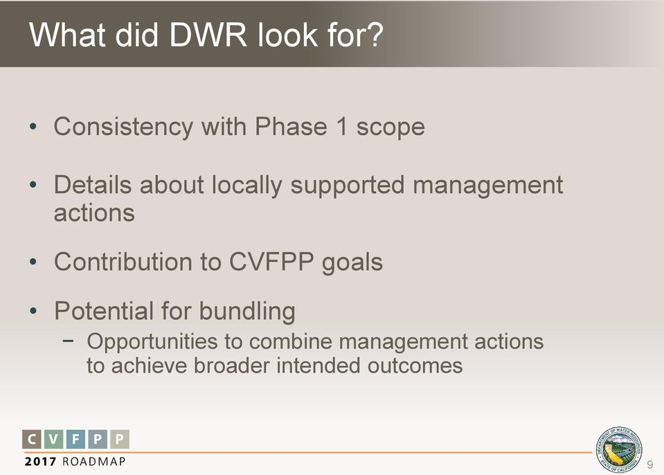 supported management actions Contribution to CVFPP goals