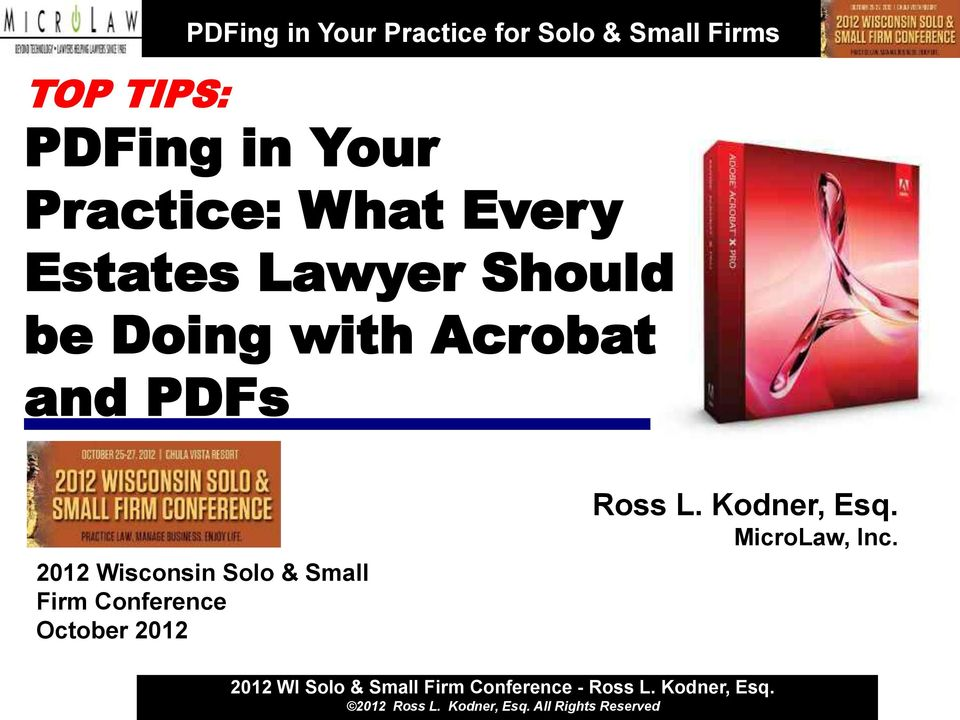 PDFs 2012 Wisconsin Solo & Small Firm