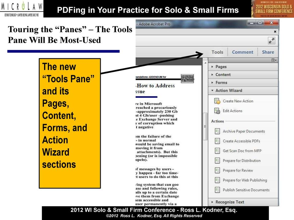 Tools Pane and its Pages,