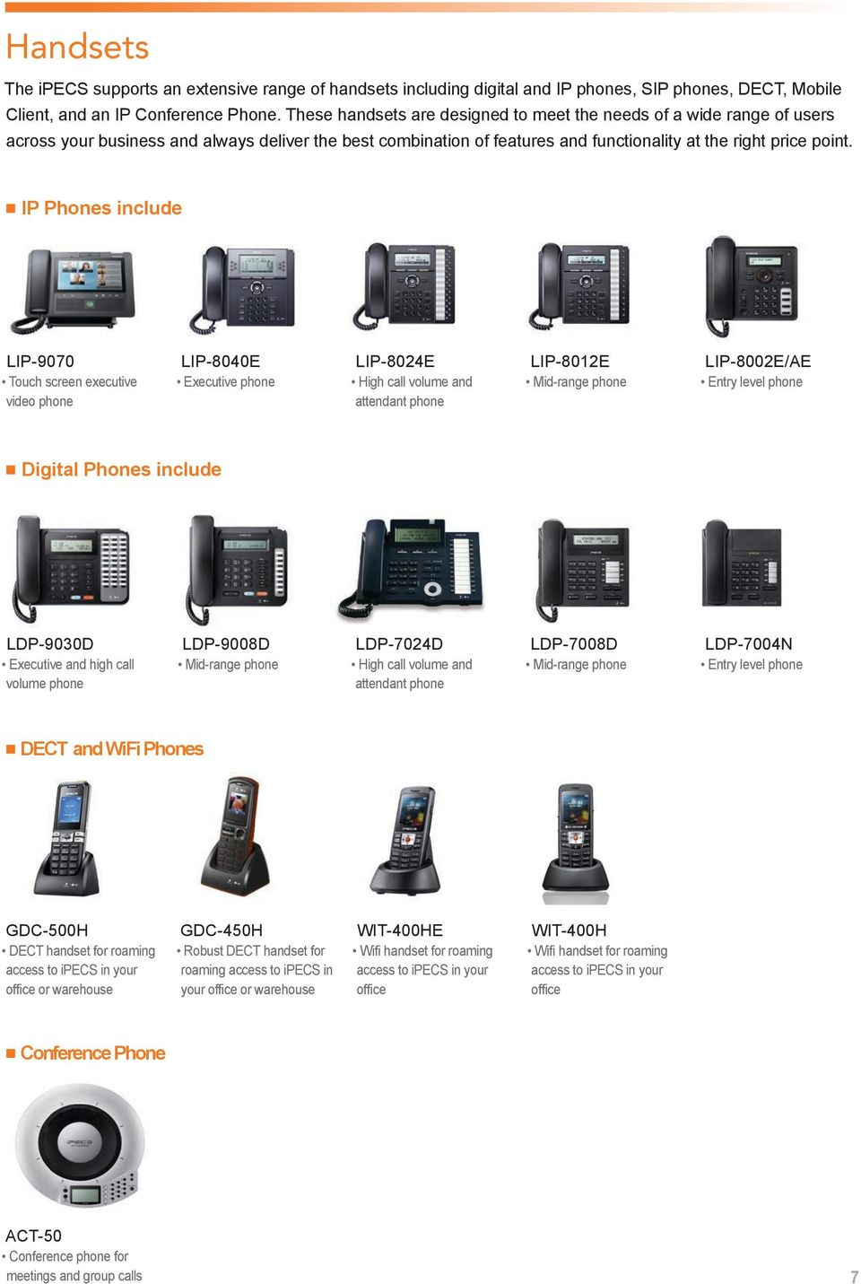 IP Phones include LIP-9070 Touch screen executive video phone LIP-8040E Executive phone LIP-8024E High call volume and attendant phone LIP-8012E Mid-range phone LIP-8002E/AE Entry level phone Digital