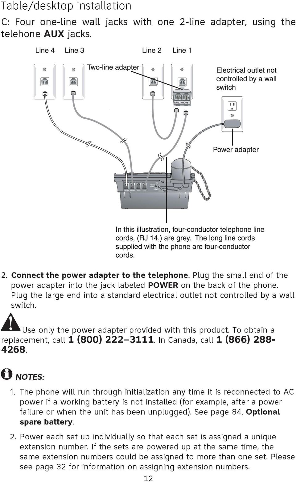 Use only the power adapter provided with this product. To obtain a replacement, call 1 (800) 222 3111. In Canada, call 1 (866) 288-4268. NOTES: 1.