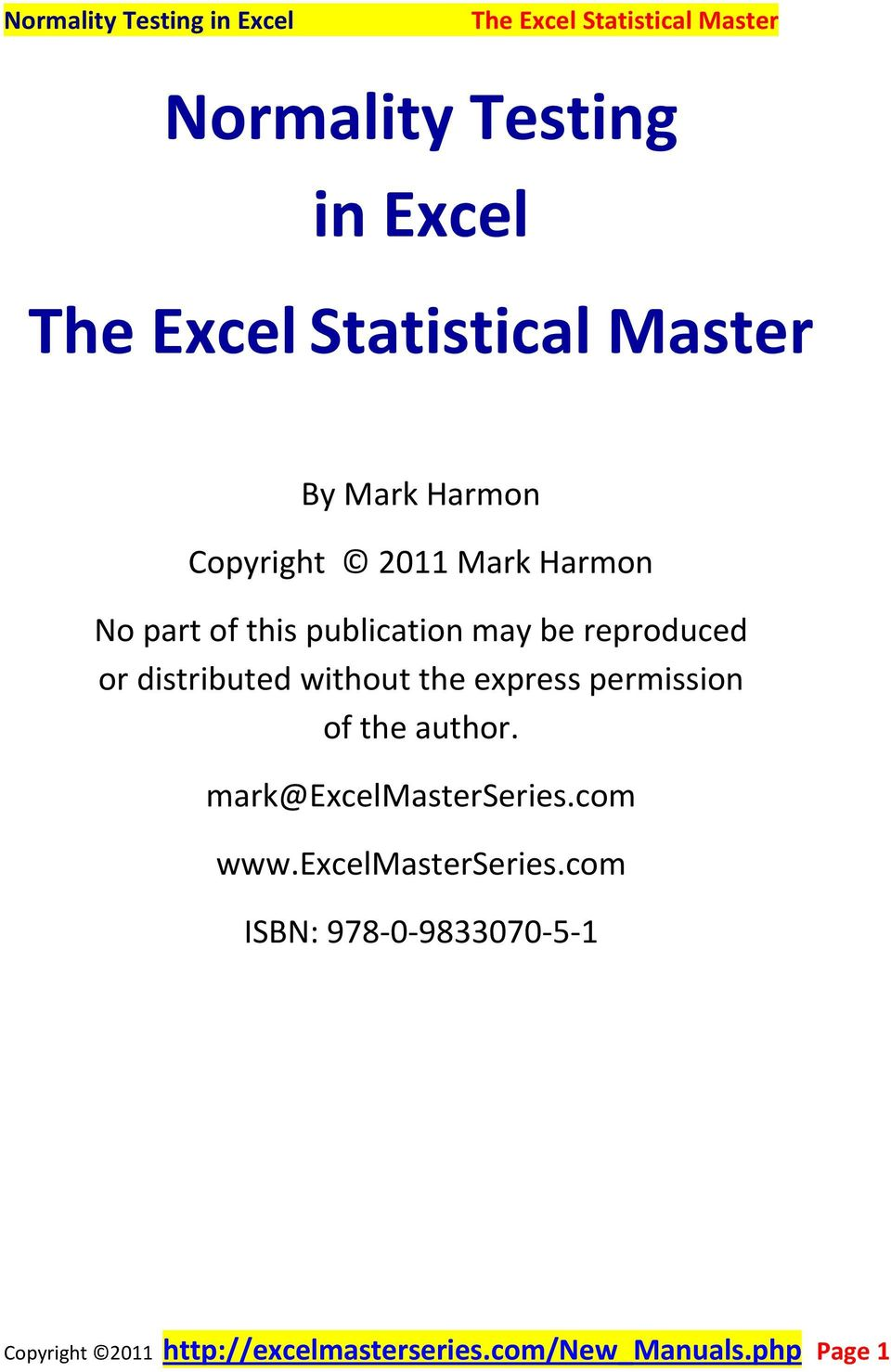 permission of the author. mark@excelmasterseries.