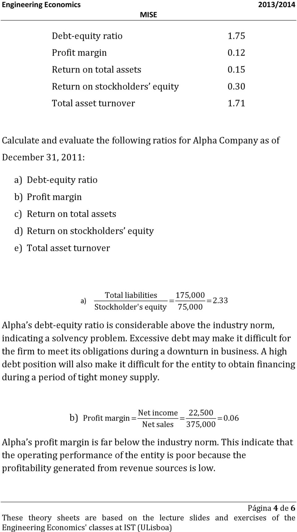 asset turnover a) Total liabilities 175,000 = = 2.33 Stockholder's equity 75,000 Alpha s debt-equity ratio is considerable above the industry norm, indicating a solvency problem.
