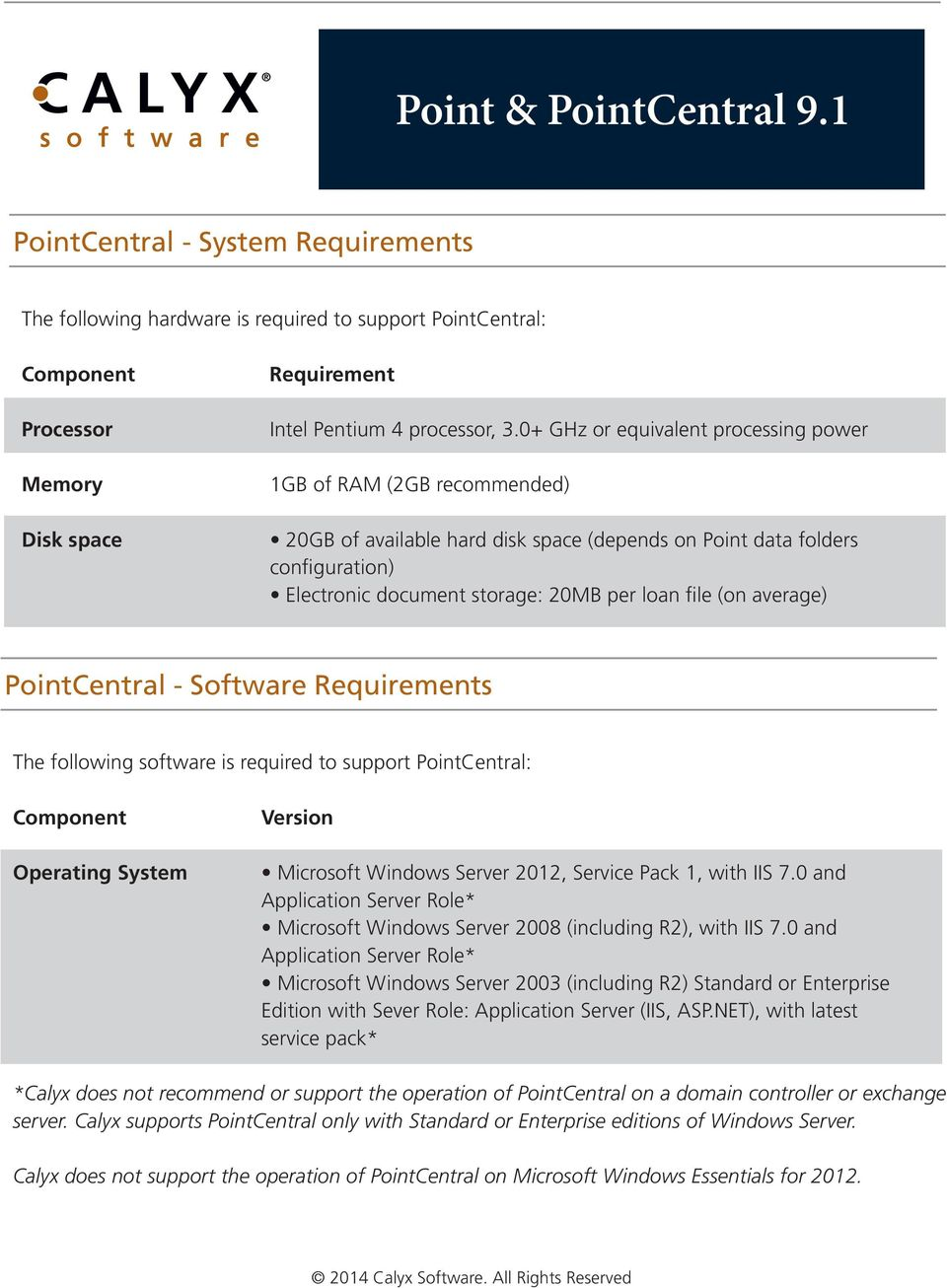 average) PointCentral - Software Requirements The following software is required to support PointCentral: Operating System Microsoft Windows Server 2012, Service Pack 1, with IIS 7.