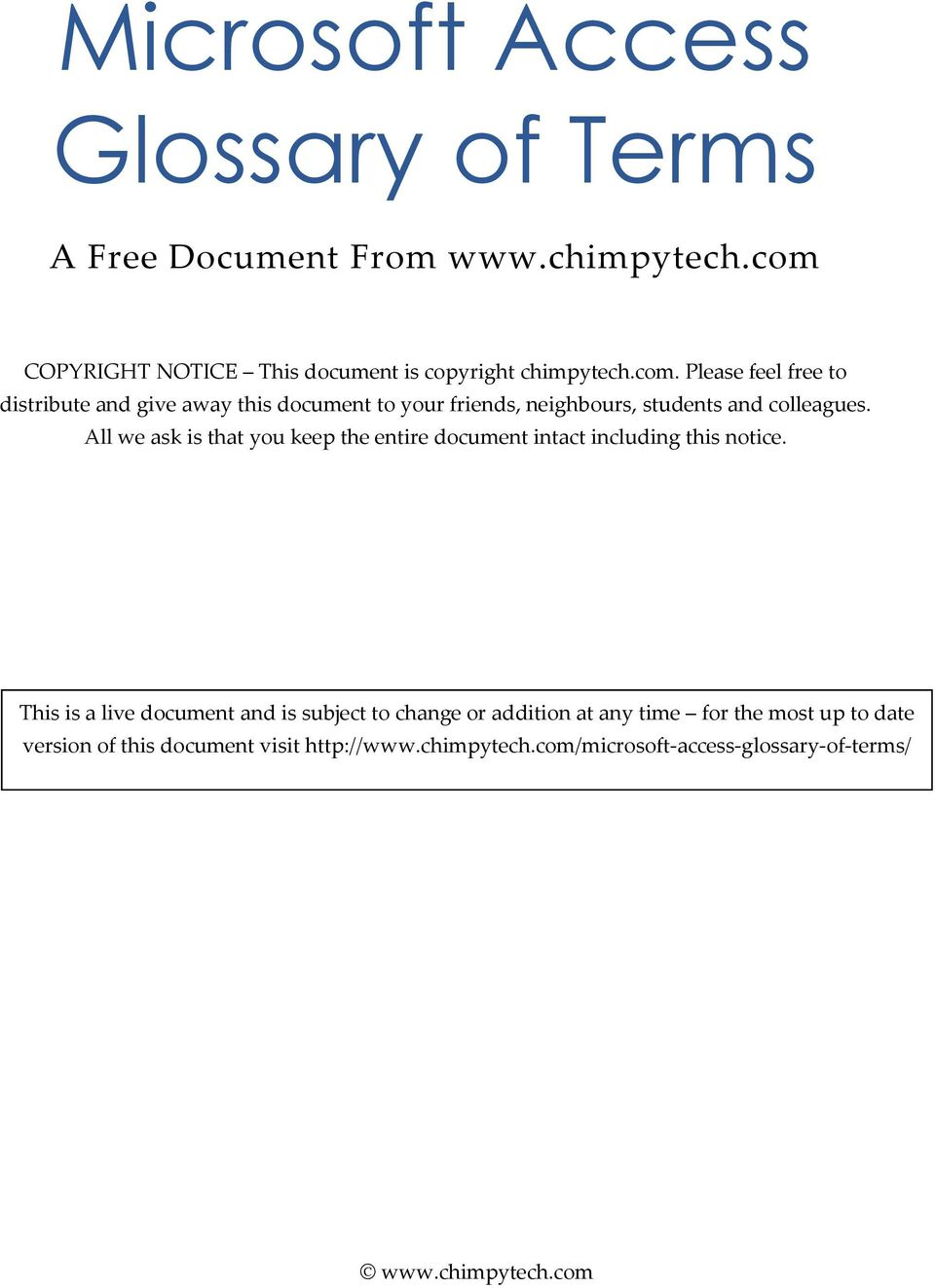 All we ask is that you keep the entire document intact including this notice.
