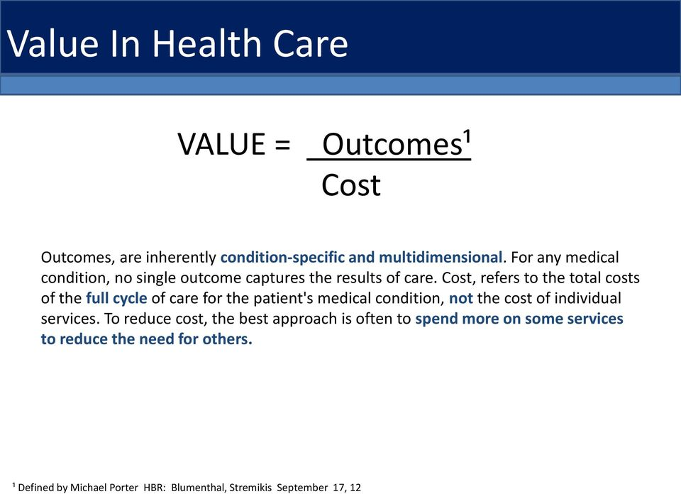 Cost, refers to the total costs of the full cycle of care for the patient's medical condition, not the cost of individual