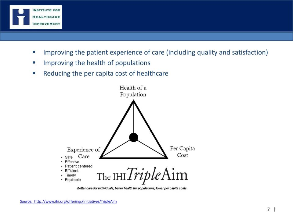 populations Reducing the per capita cost of healthcare