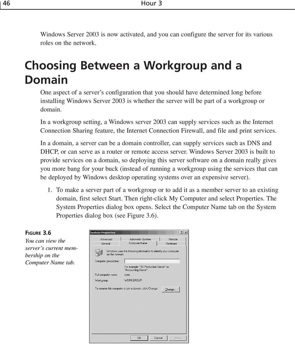 workgroup or domain. In a workgroup setting, a Windows server 2003 can supply services such as the Internet Connection Sharing feature, the Internet Connection Firewall, and file and print services.