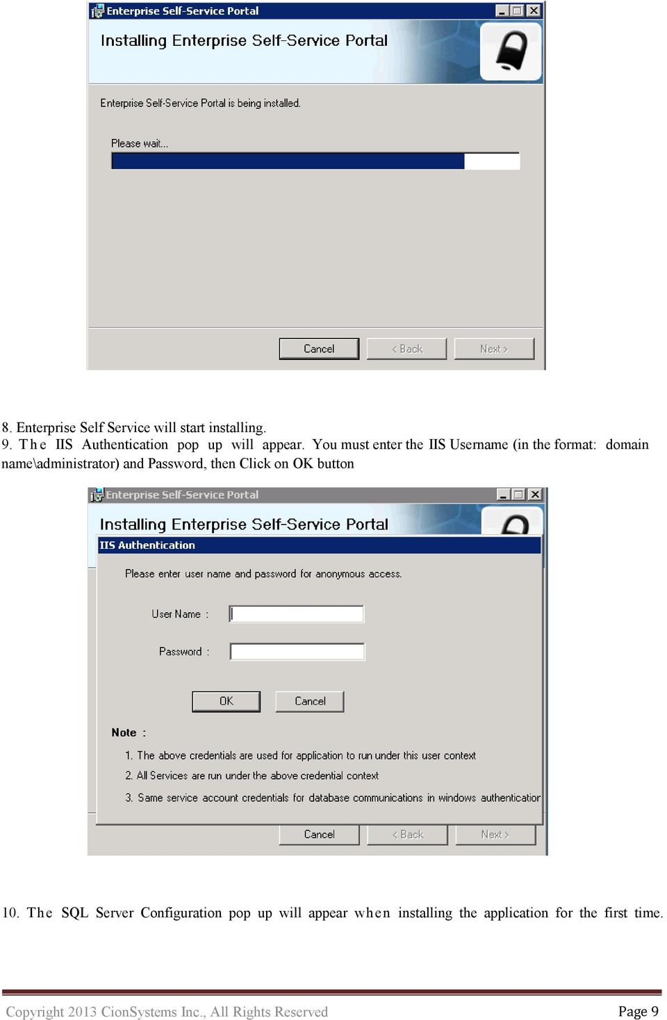 You must enter the IIS Username (in the format: domain name\administrator) and