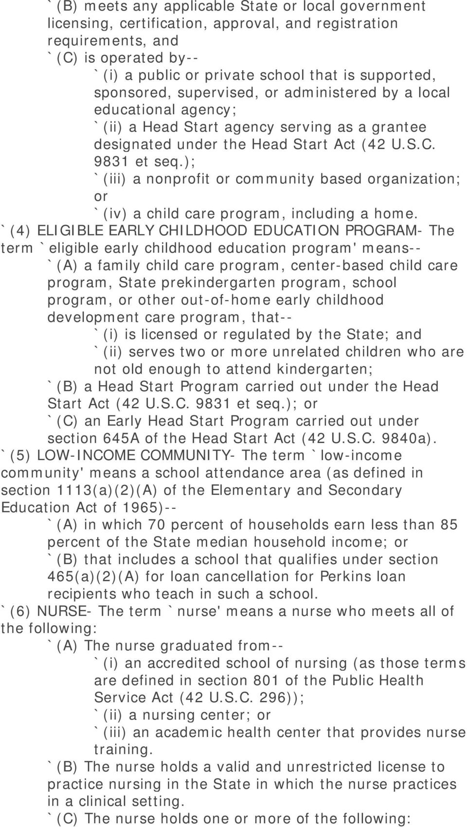 ); `(iii) a nonprofit or community based organization; or `(iv) a child care program, including a home.