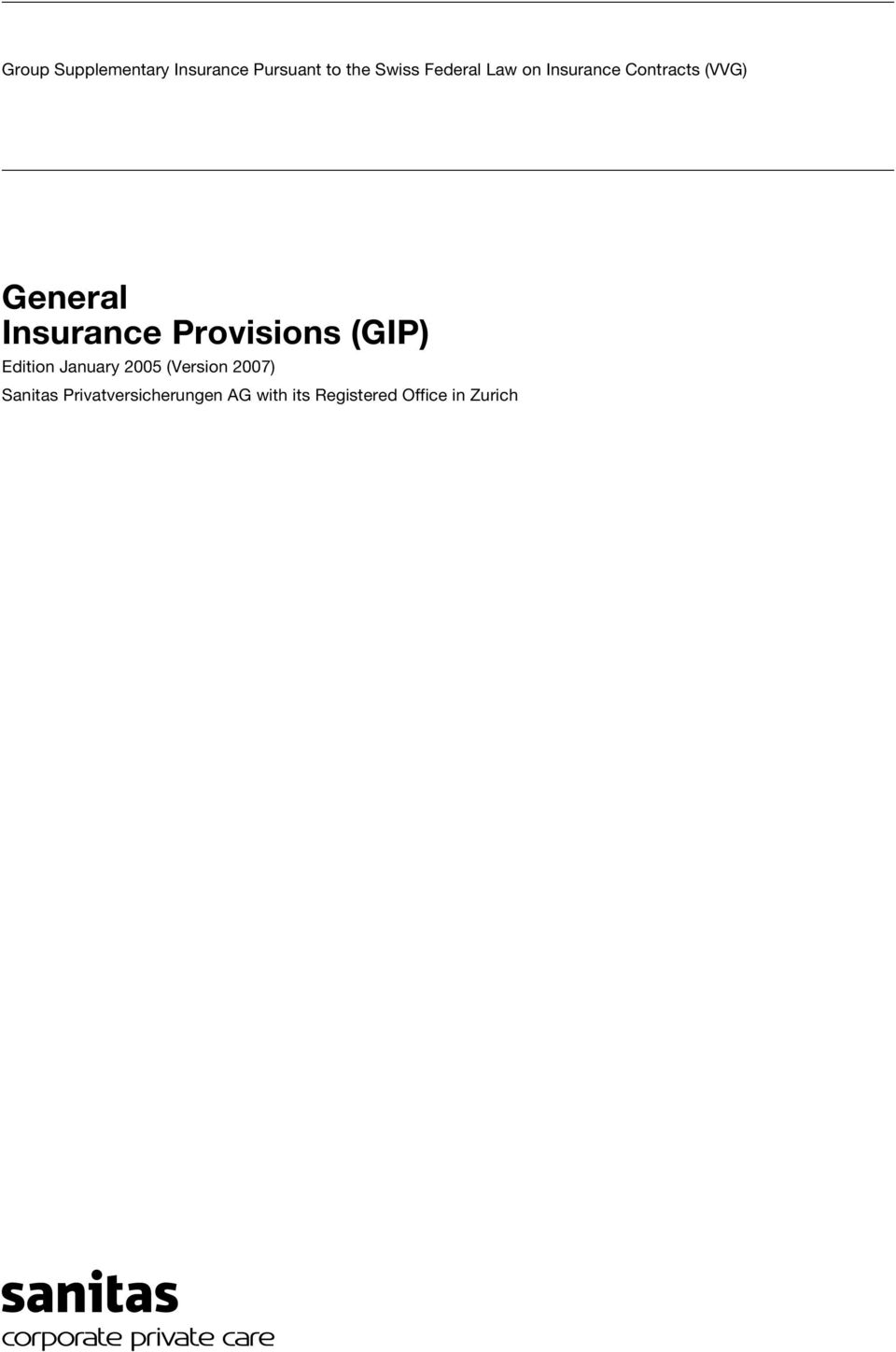 Insurance Provisions (GIP) Edition January 2005 (Version