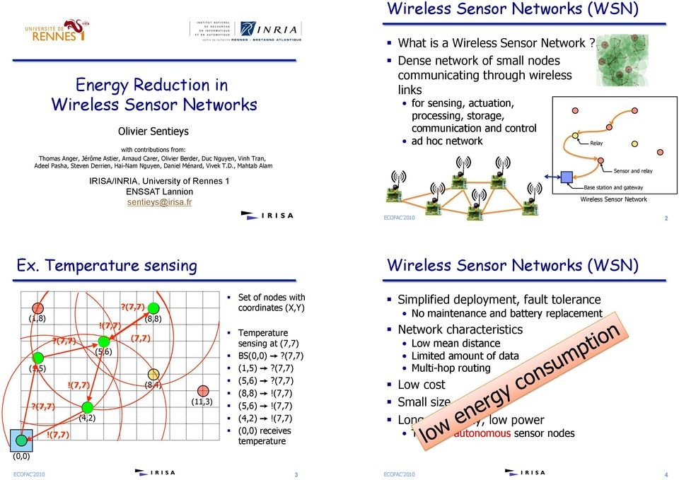 ! Dense network of small nodes communicating through wireless links for sensing, actuation, processing, storage, communication and control ad hoc network Relay Sensor and relay Base station and